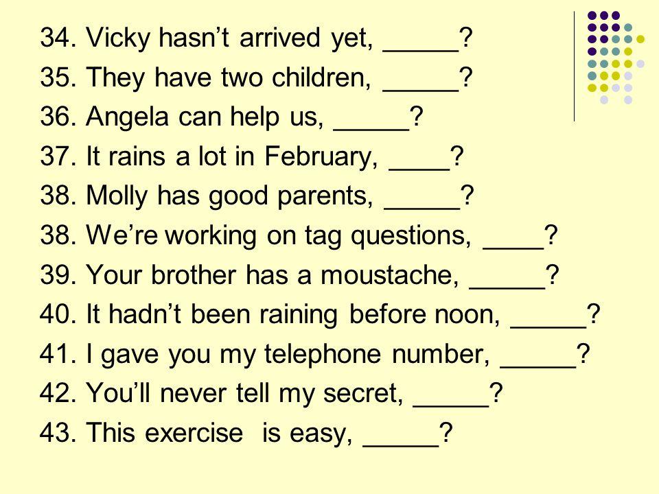 34. Vicky hasn't arrived yet, _____