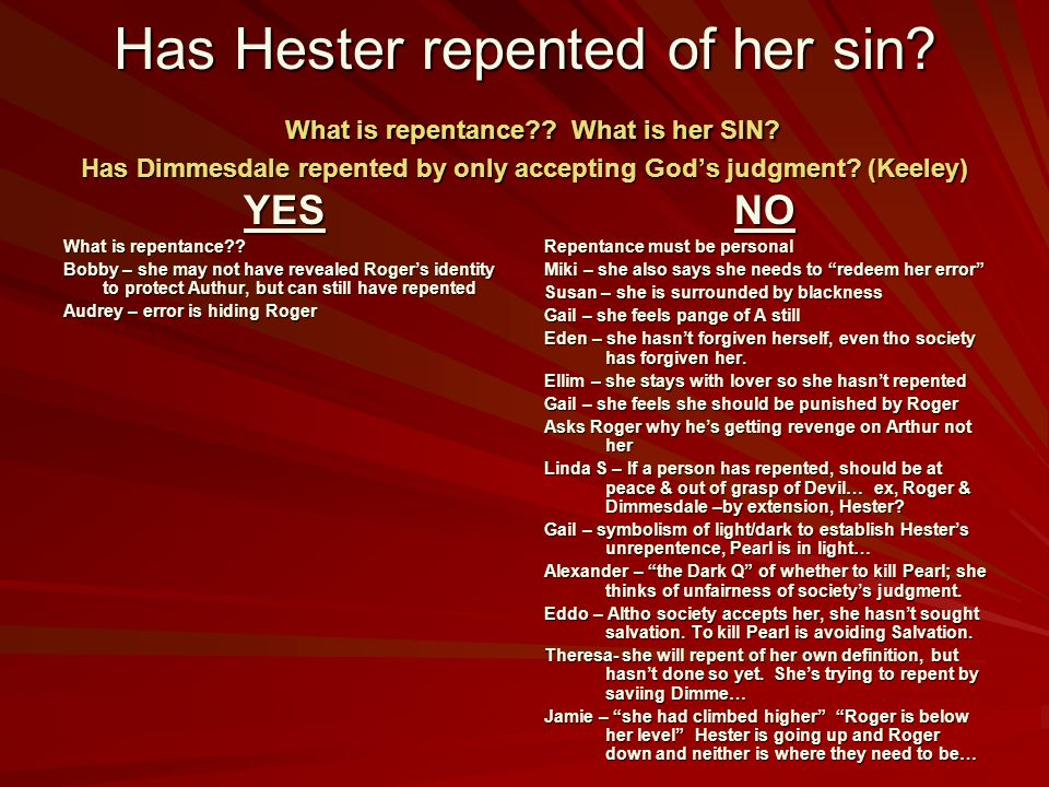 Has Hester repented of her sin. What is repentance. What is her SIN