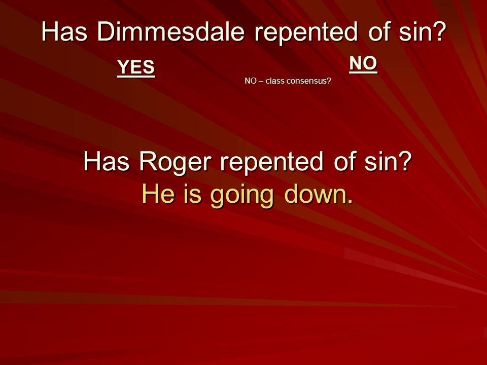 Has Dimmesdale repented of sin