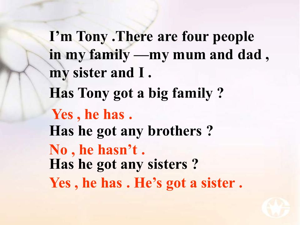 I'm Tony .There are four people in my family —my mum and dad , my sister and I .