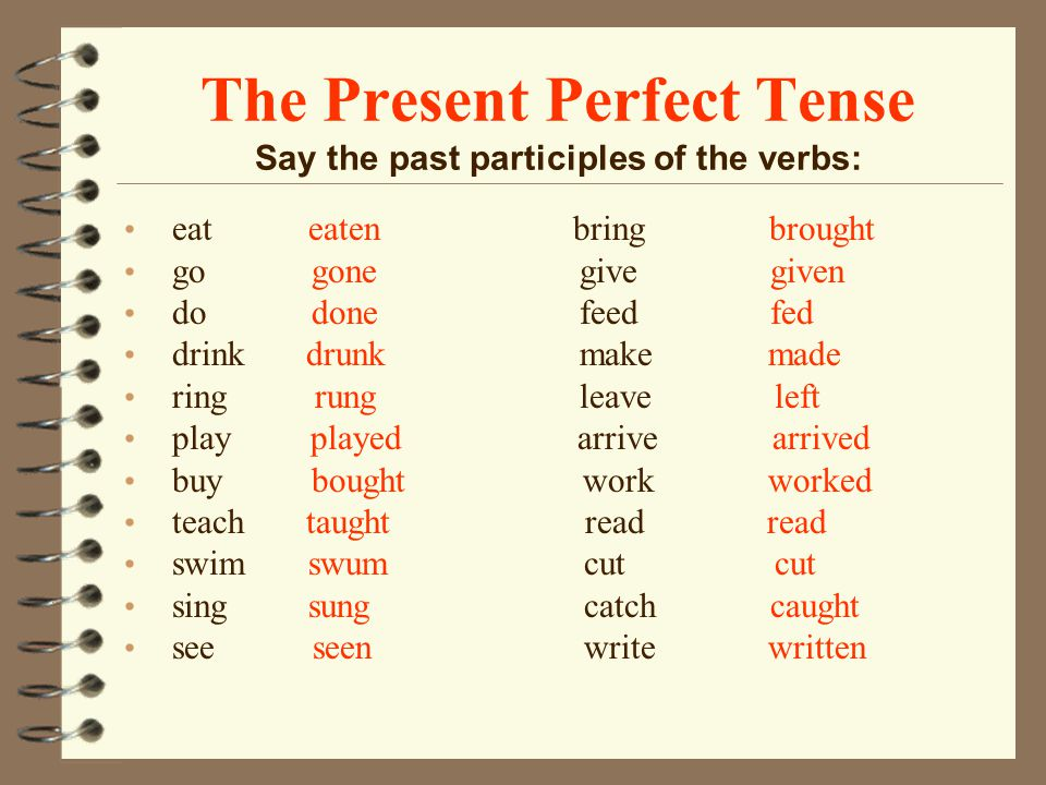 The Present Perfect Tense Say the past participles of the verbs: