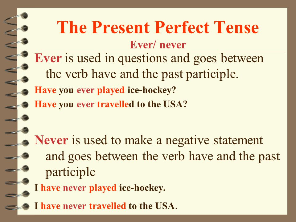 The Present Perfect Tense Ever/ never