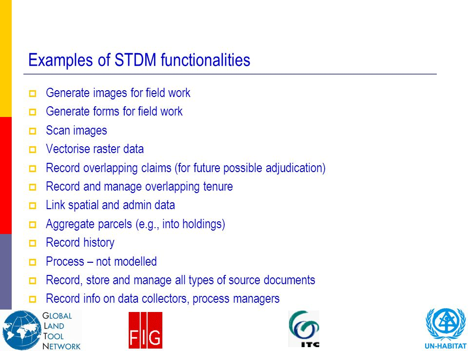 Examples of STDM functionalities