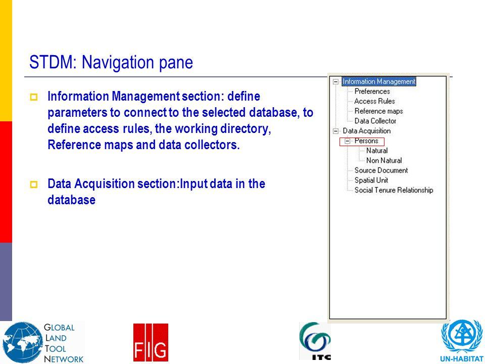 STDM: Navigation pane