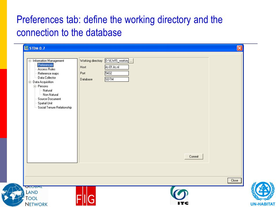 Preferences tab: define the working directory and the connection to the database