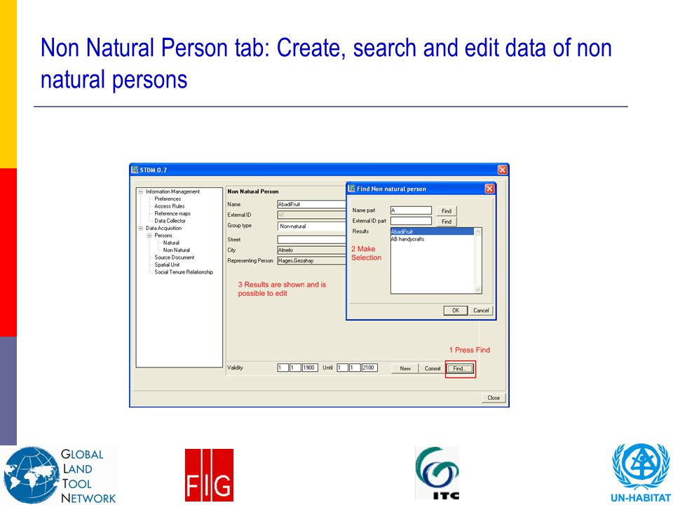 Non Natural Person tab: Create, search and edit data of non natural persons