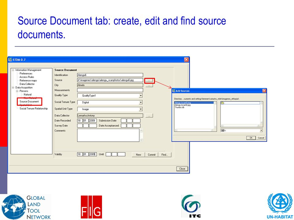 Source Document tab: create, edit and find source documents.