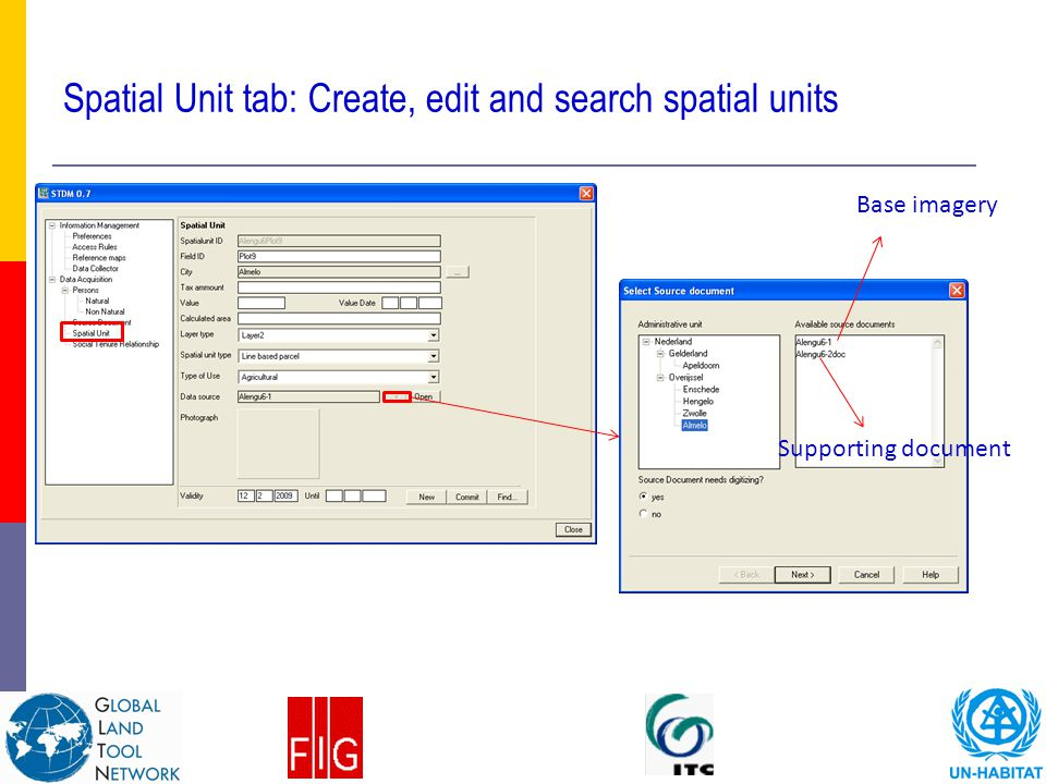 Spatial Unit tab: Create, edit and search spatial units