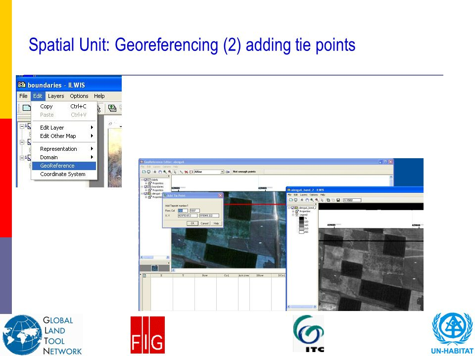 Spatial Unit: Georeferencing (2) adding tie points