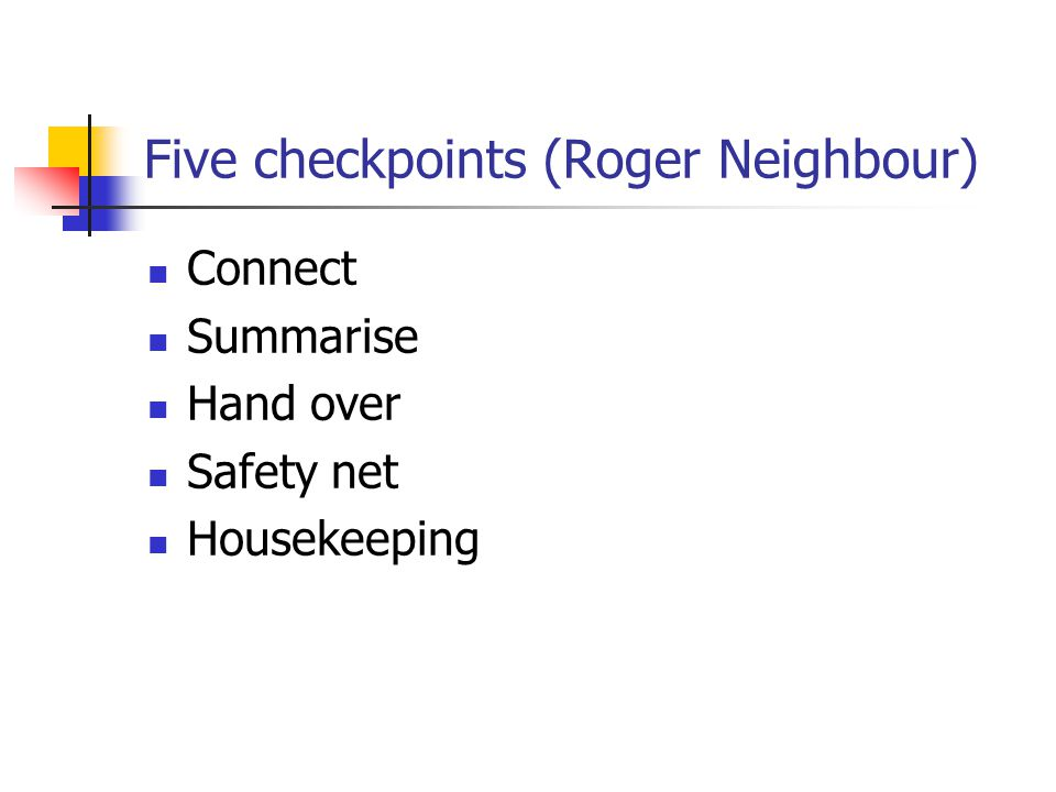 Five checkpoints (Roger Neighbour)