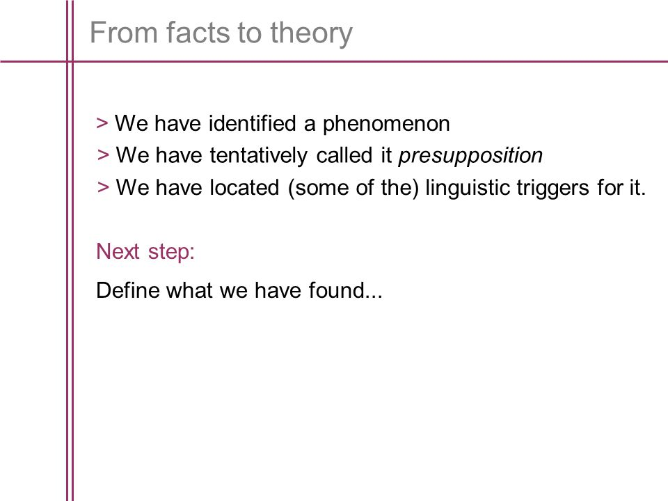 From facts to theory > We have identified a phenomenon