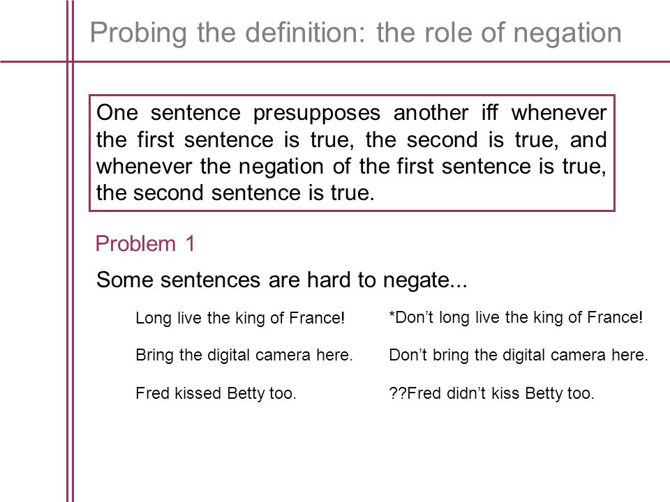 Probing the definition: the role of negation