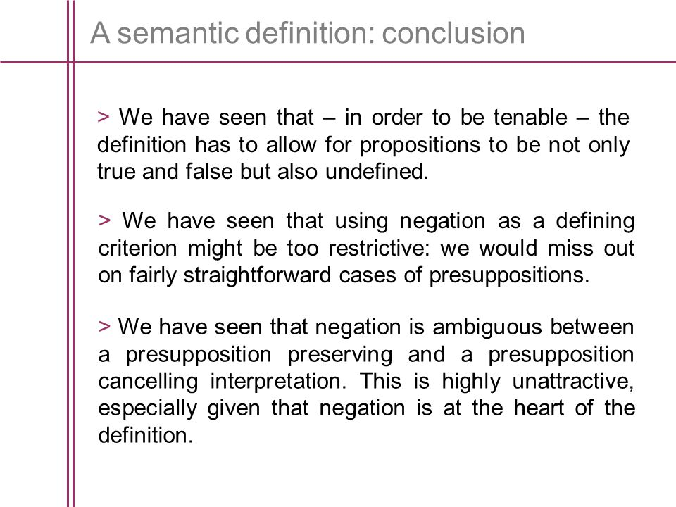 A semantic definition: conclusion