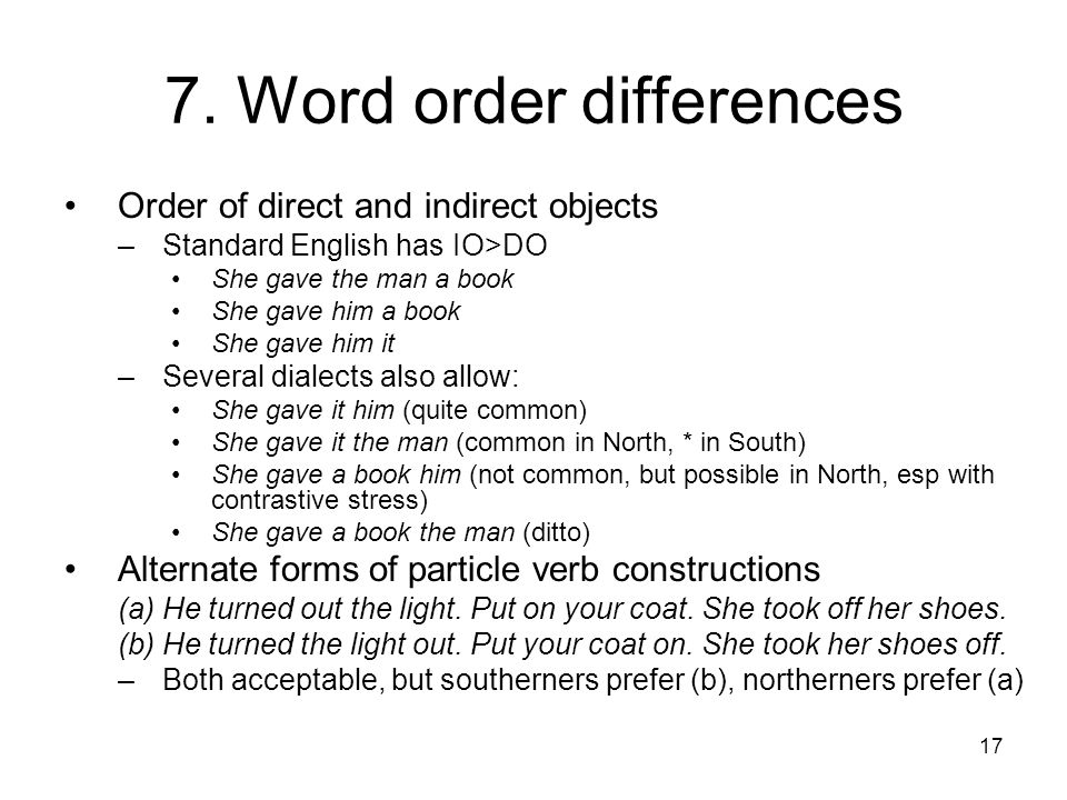 7. Word order differences