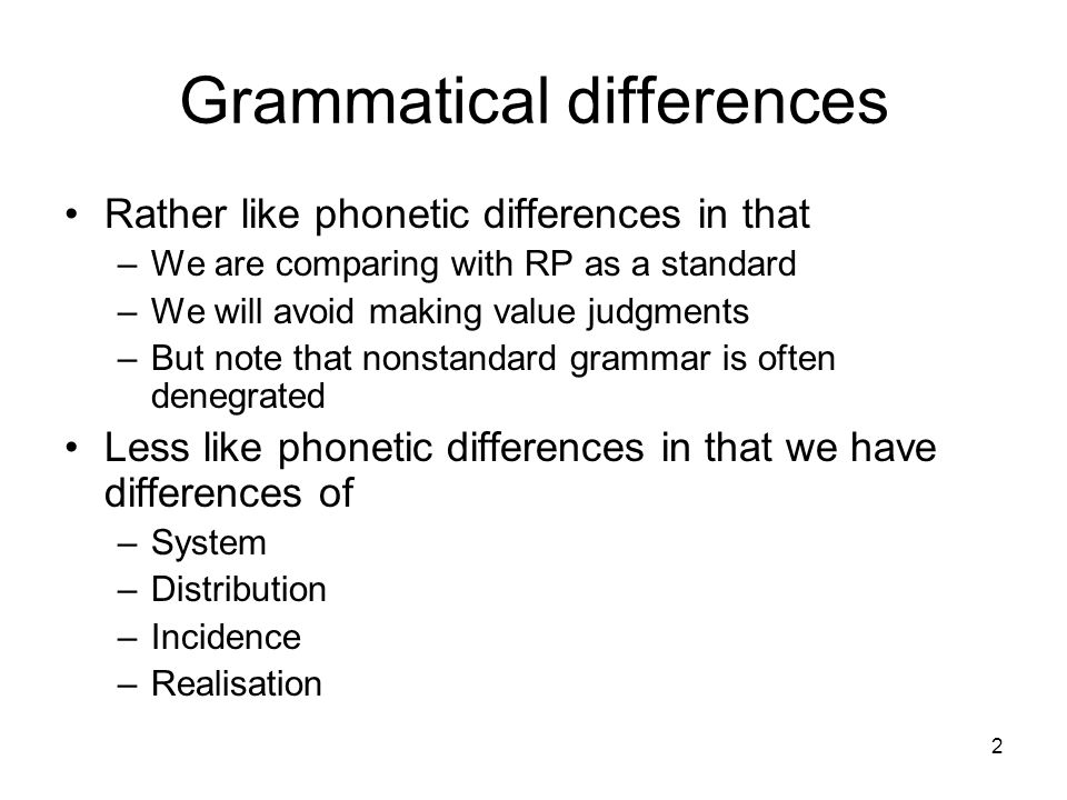 Grammatical differences