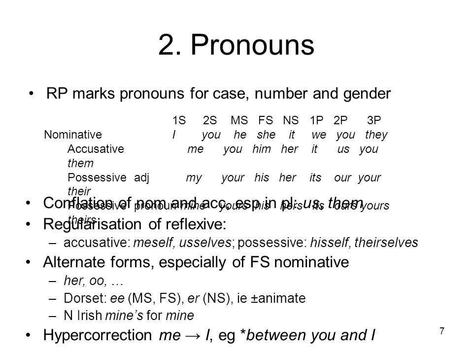 2. Pronouns RP marks pronouns for case, number and gender