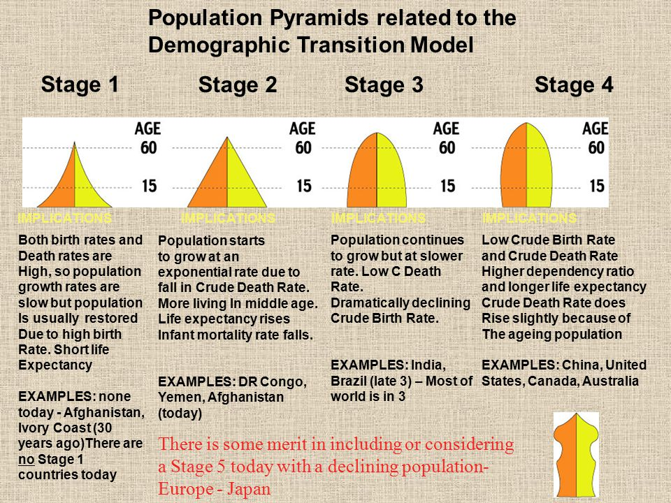 Population Pyramids related to the Demographic Transition Model