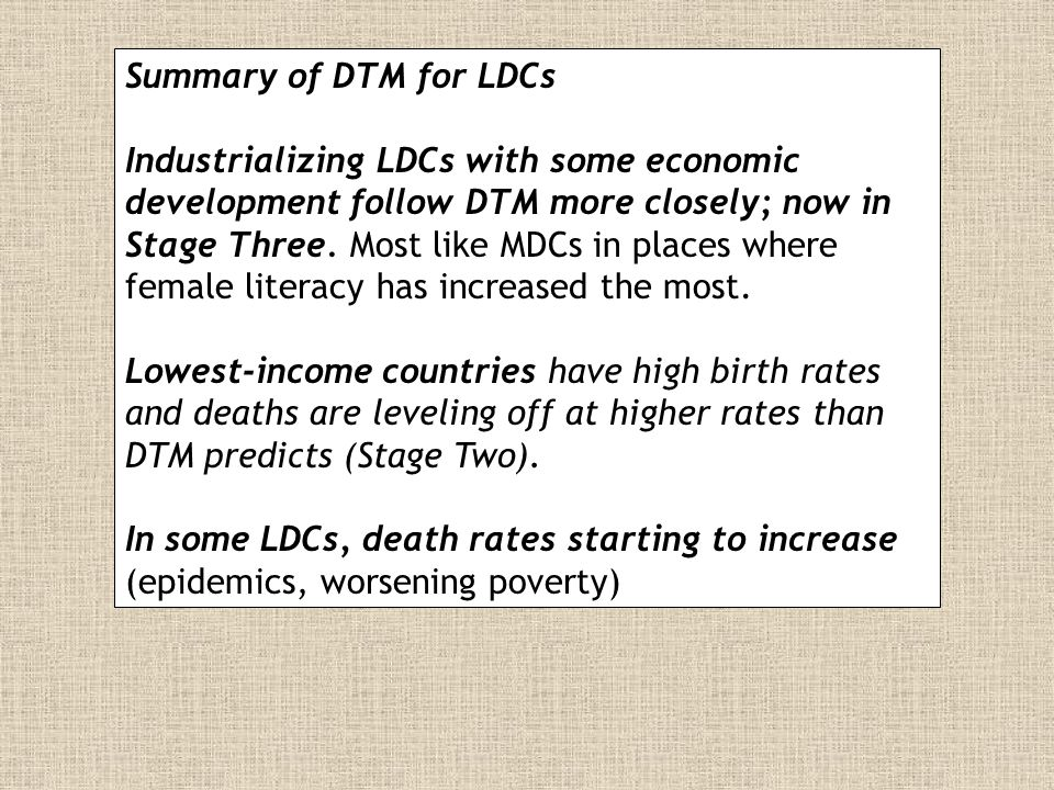 Summary of DTM for LDCs