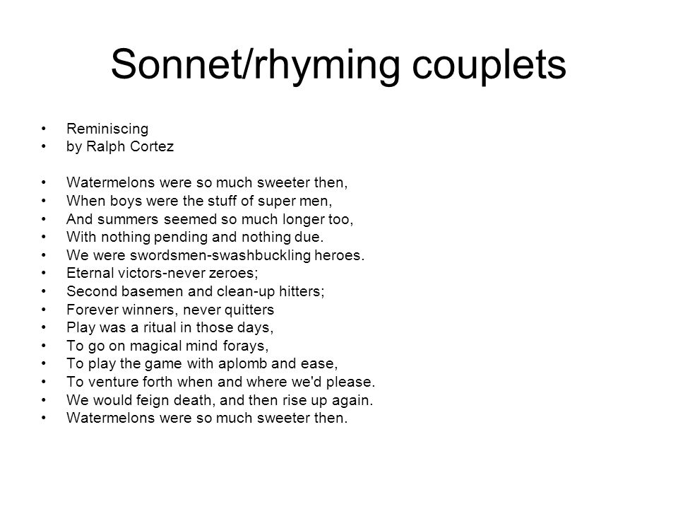 Sonnet/rhyming couplets
