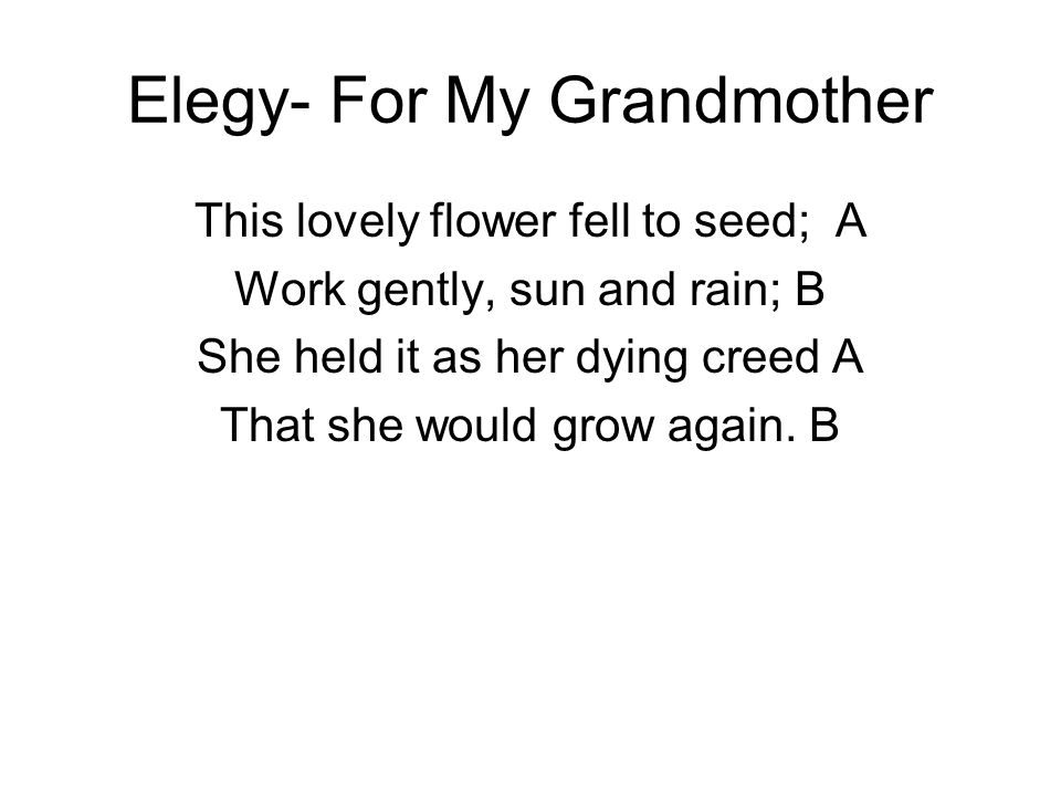 Elegy- For My Grandmother