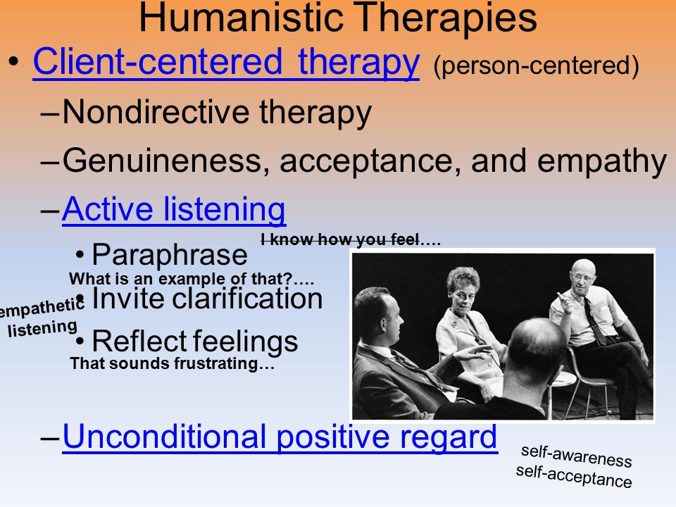 Humanistic Therapies Client-centered therapy (person-centered)