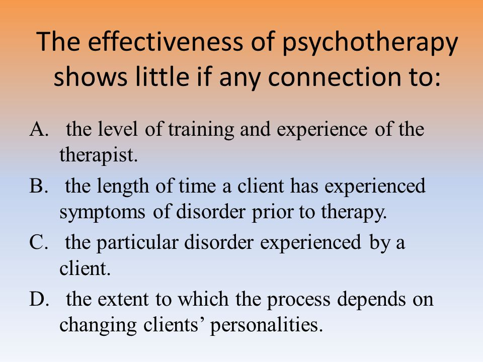 The effectiveness of psychotherapy shows little if any connection to: