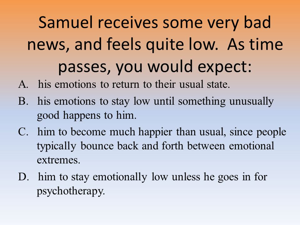 Samuel receives some very bad news, and feels quite low