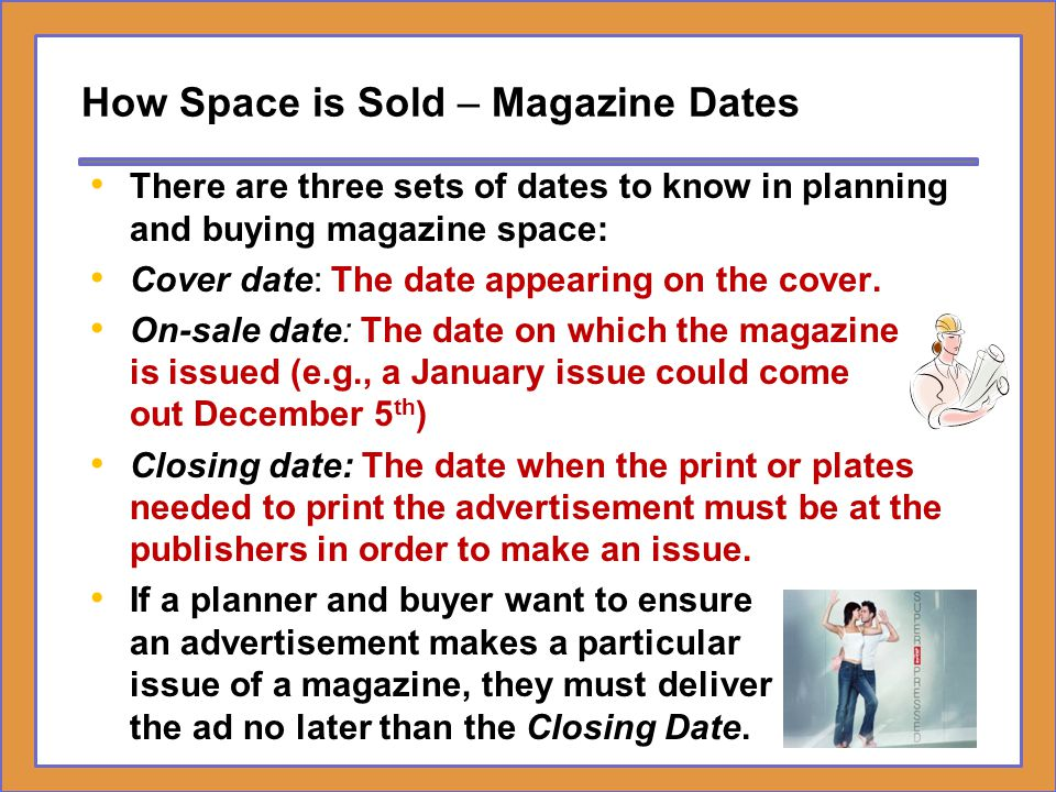 How Space is Sold – Magazine Dates