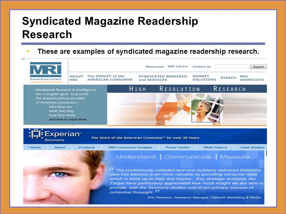 Syndicated Magazine Readership Research