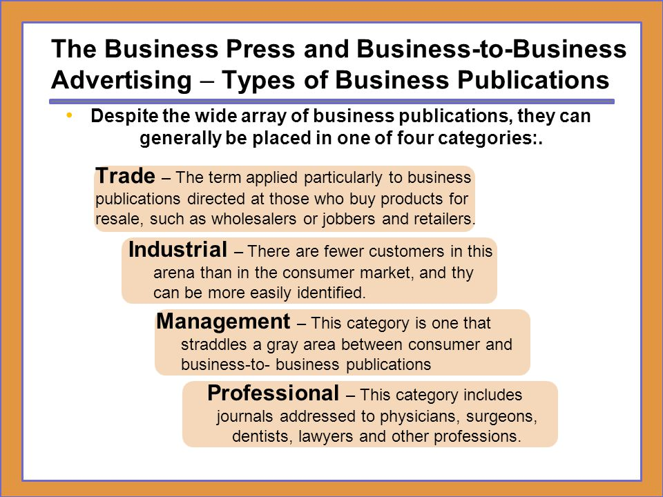 The Business Press and Business-to-Business Advertising – Types of Business Publications