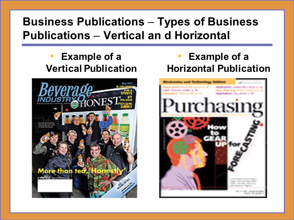 Example of a Vertical Publication Example of a Horizontal Publication