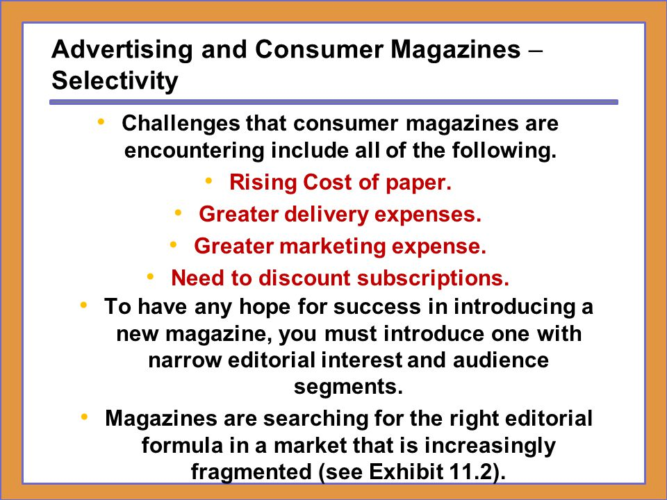 Advertising and Consumer Magazines – Selectivity