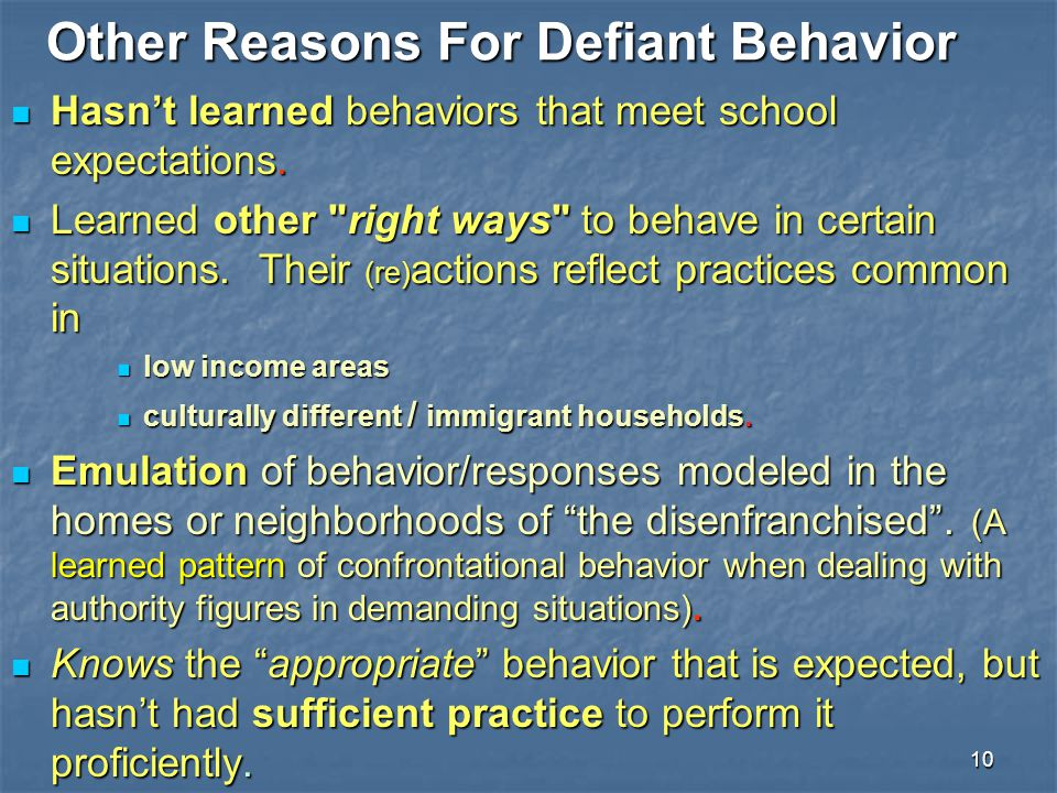 Other Reasons For Defiant Behavior