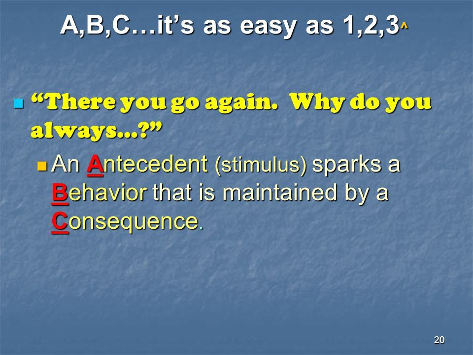 A,B,C…it's as easy as 1,2,3^ There you go again. Why do you always…