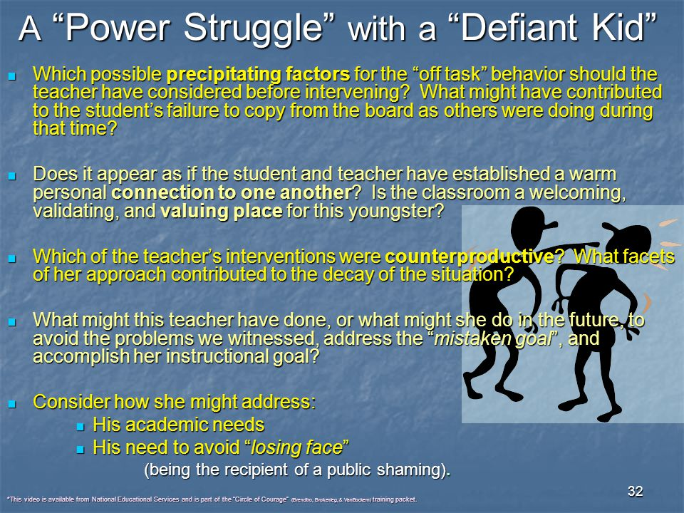 A Power Struggle with a Defiant Kid