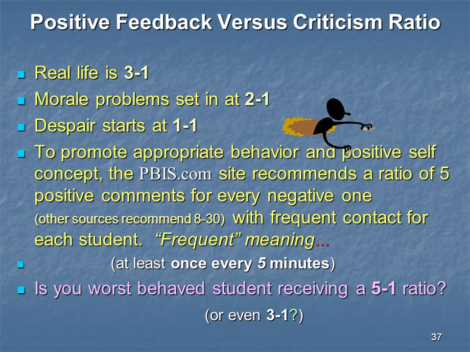 Positive Feedback Versus Criticism Ratio