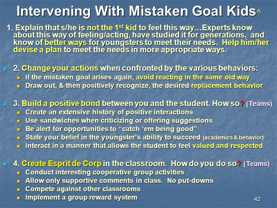 Intervening With Mistaken Goal Kids^