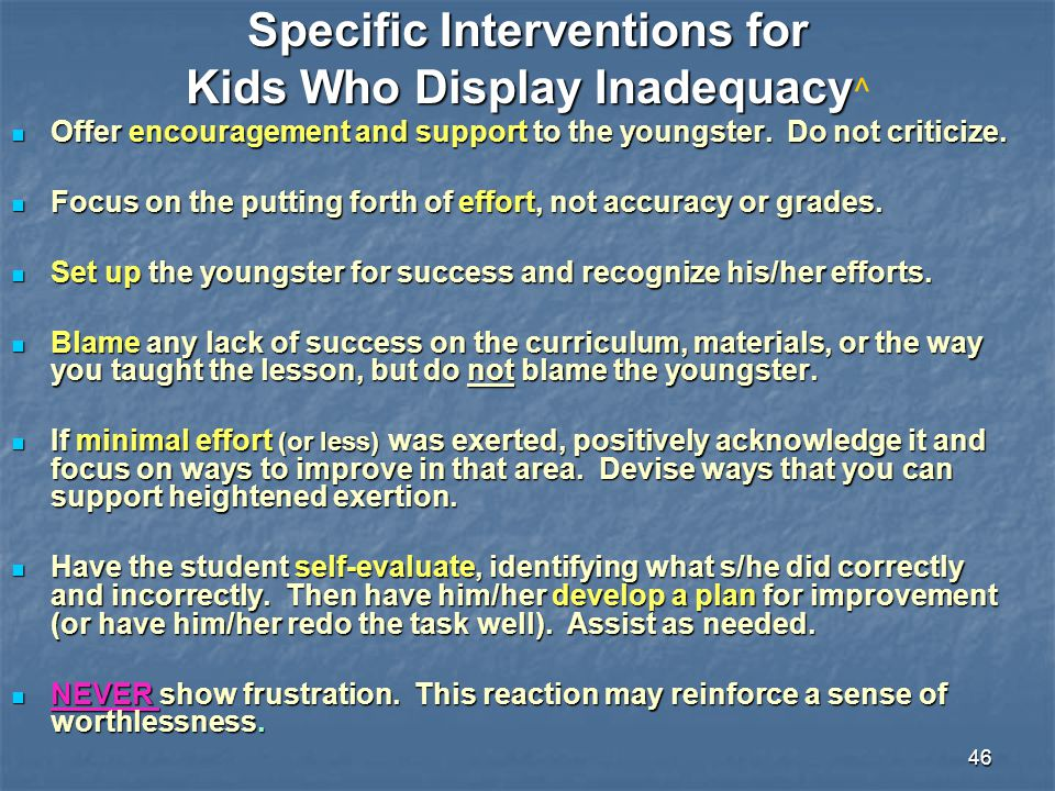 Specific Interventions for Kids Who Display Inadequacy^