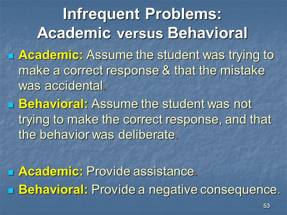Infrequent Problems: Academic versus Behavioral