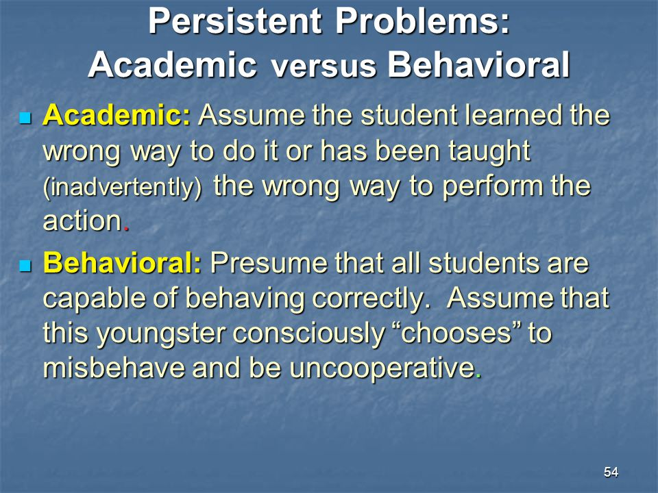 Persistent Problems: Academic versus Behavioral