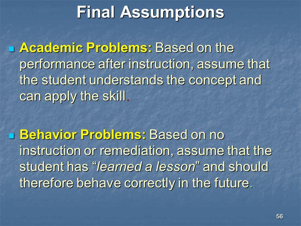 Final Assumptions