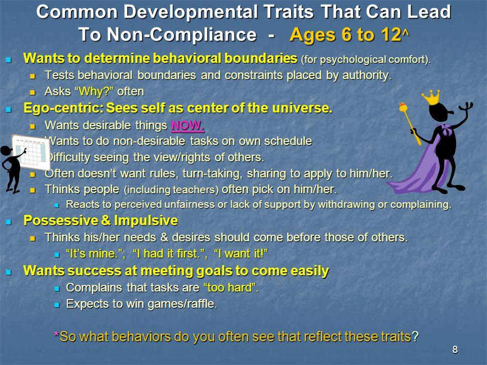 Common Developmental Traits That Can Lead To Non-Compliance - Ages 6 to 12^