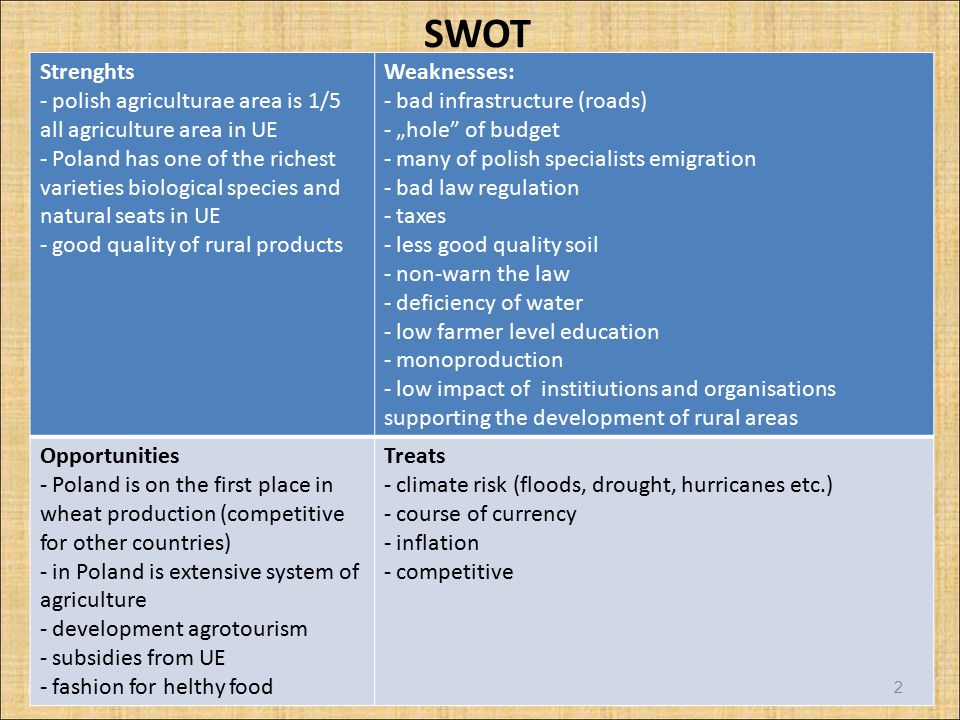 SWOT Strenghts. polish agriculturae area is 1/5 all agriculture area in UE.