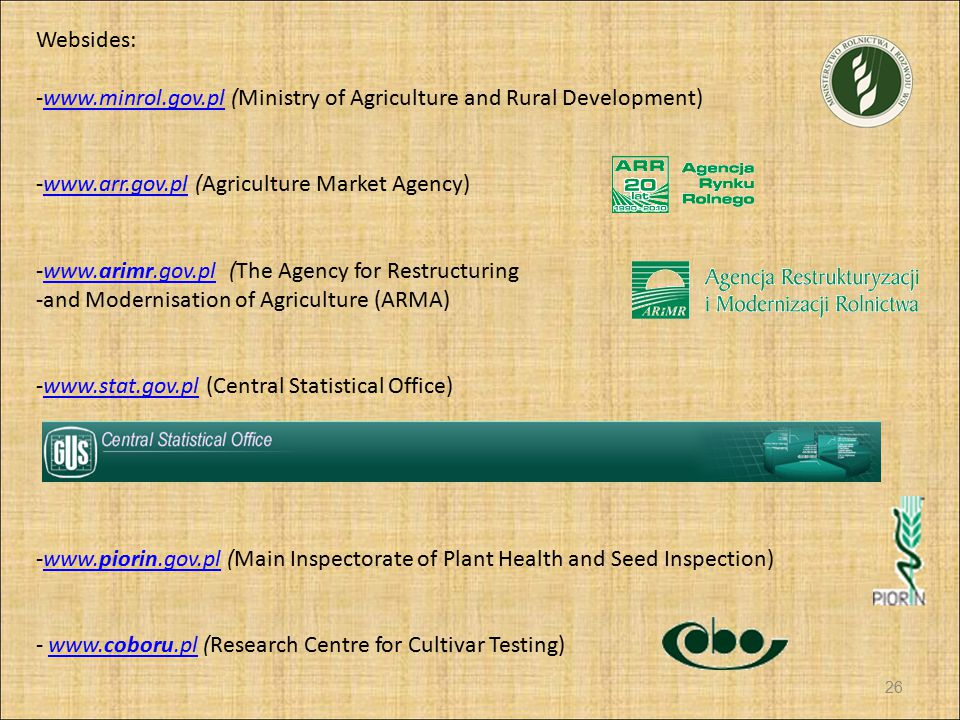 Websides: www.minrol.gov.pl (Ministry of Agriculture and Rural Development) www.arr.gov.pl (Agriculture Market Agency)
