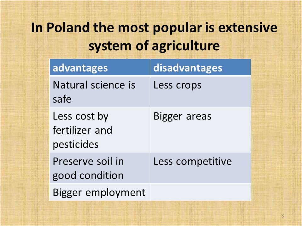 In Poland the most popular is extensive system of agriculture