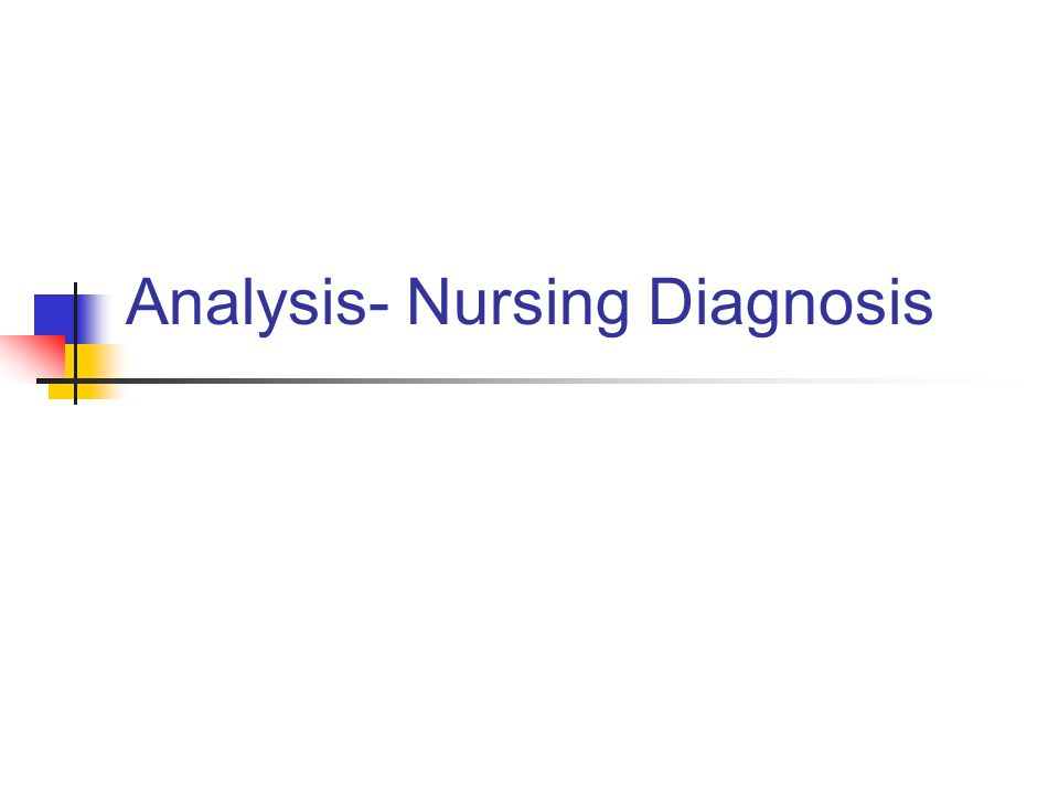 Analysis- Nursing Diagnosis