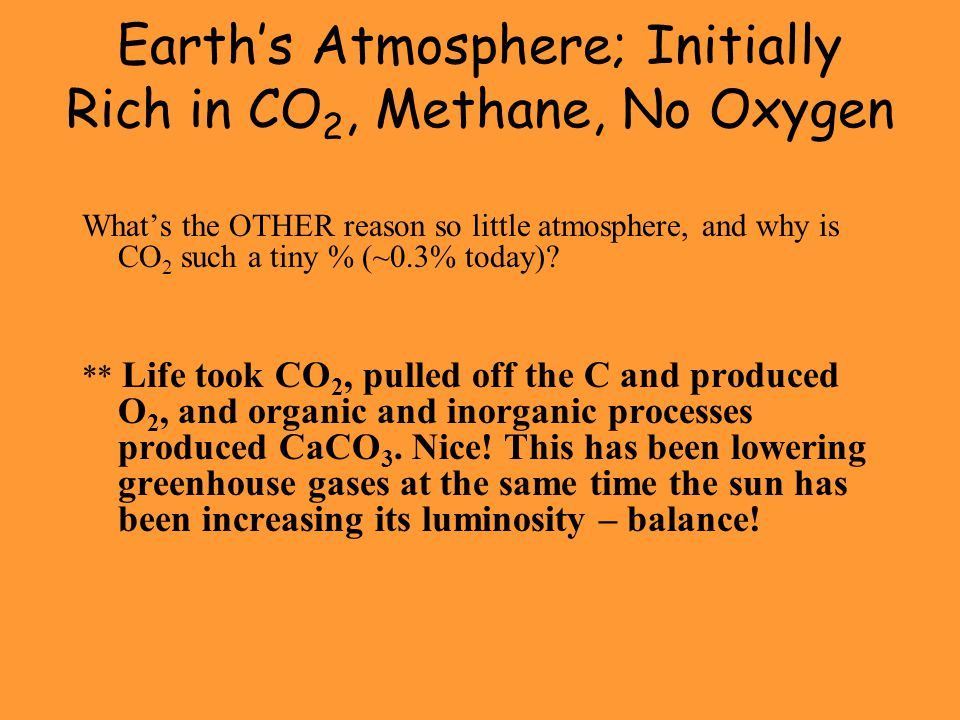 Earth's Atmosphere; Initially Rich in CO2, Methane, No Oxygen