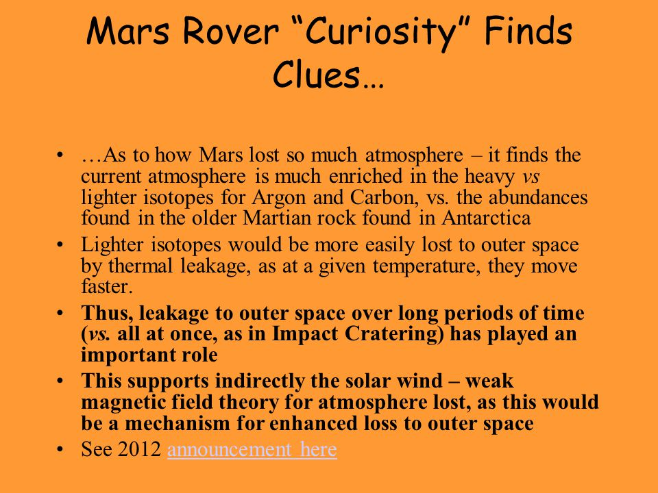 Mars Rover Curiosity Finds Clues…