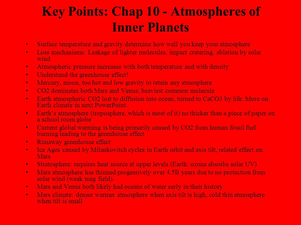Key Points: Chap 10 - Atmospheres of Inner Planets