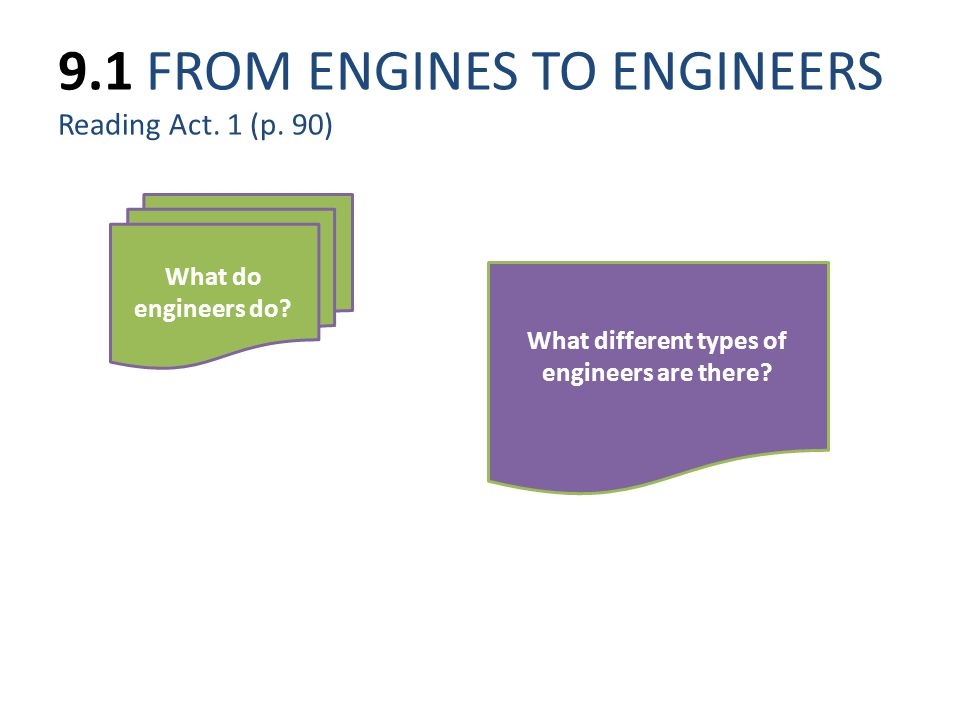 9.1 FROM ENGINES TO ENGINEERS Reading Act. 1 (p. 90)